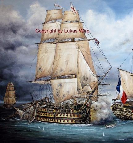 Schlacht von Trafalgar Lord Nelson Marine Gemälde Lukas Wirp
