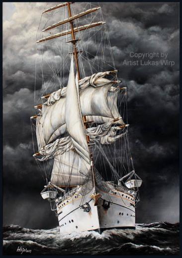 Segelschiff Gorch Fock im Atlantik, Großsegler