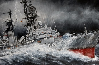 Wellen Sturm Hochsee Fahrt Militär Maler Gemälde