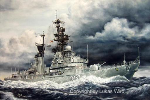 D185 D186 D187 deutsche Marine Leinwand Bild Marinemaler Lukas Wirp