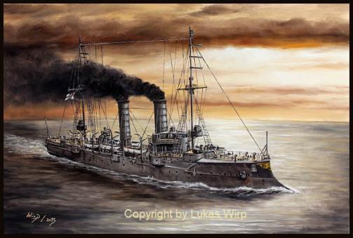 Marine , Bilder , 1. Weltkrieg , kaiserliche , Marinemaler , Lukas Wirp , Kreuzer , Ostsee