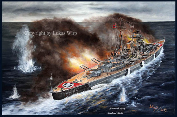 Schlachtschiffe Bilder Poster Marine Gemälde maritime Bismarck Tirpitz