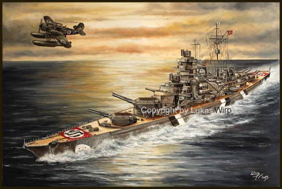 Schlachtschiff bismarck Bild Gemälde Arado 196 AR Lukas Wirp Marinemaler