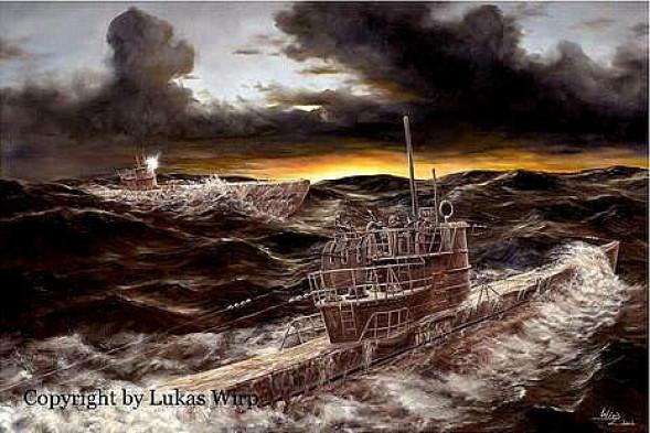 Marinemaler Lukas Wirp U-Boot Bild WK2