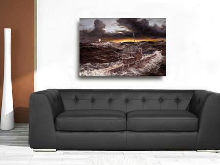 Deutsches U-Boot Leinwand bild Marinemaler Lukas wirp