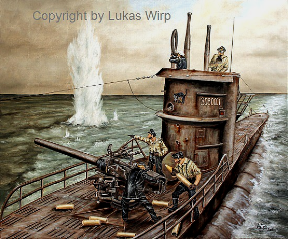 U-Boot U48 im Gefecht Seegefecht Battle WW2 U-Boat