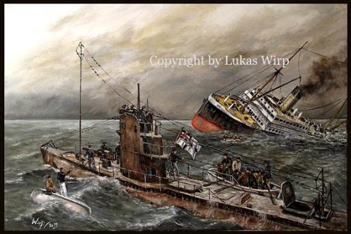 Marine Maler Lukas Wirp U-boot Deutsch 1. Weltkrieg Bild