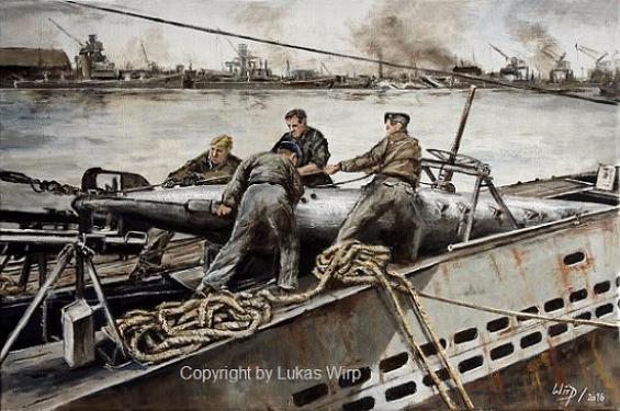2. Weltkrieg, U-Boot, deutsche, Marine, Bilder, Marinemaler