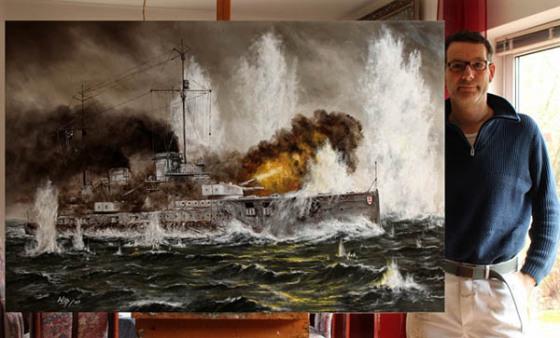 Seeschlacht, Marine, !. Weltkrieg, Kunst, Gemälde, bilder