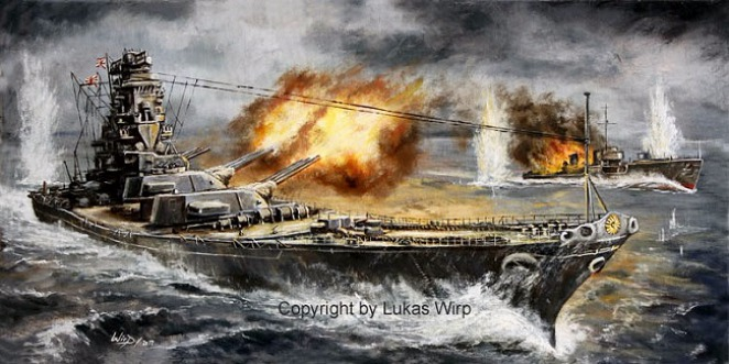 Japanese, Navy, WW2, Pacific, War, Painting