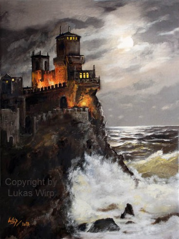 Burg, Mittelalter, Meer, Sturm, Klippen, Bild, Poster