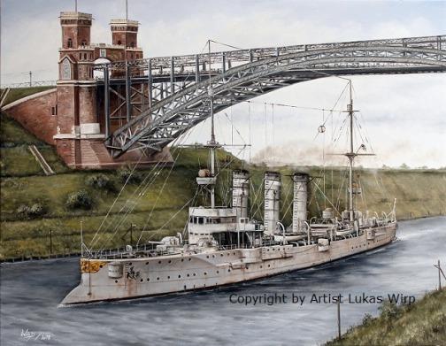 Kaiserliche Marine, Bremen Klasse, Bilder, Nord Ostsee Kanal, Marinemaler