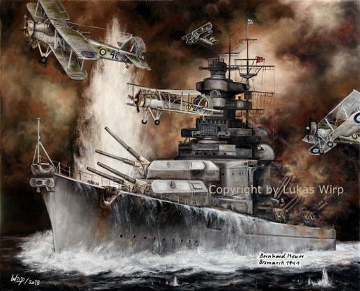 Bismarck, Atlantik, Luftangriff, Torpedo, Bilder