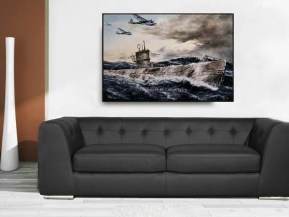 Leinwand Kunstdrucke, Poster, U-Boot, Marine, 2. Weltkrieg
